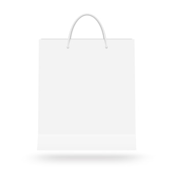 Blank white paper bag with handle isolated