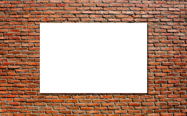 Blank white paper board at grunge brick red wall texture background