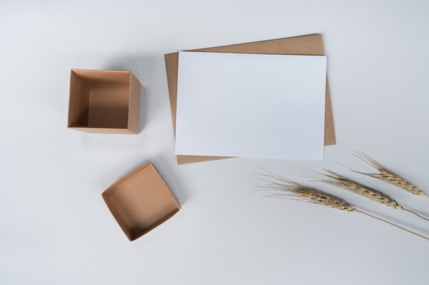 Blank white paper on brown paper envelope with barley dry flower and carton box. top view of craft  envelope on white background.
