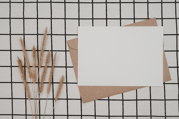 Blank white paper on brown paper envelope with bristly foxtail dry flower and carton box on white cloth with black grid pattern