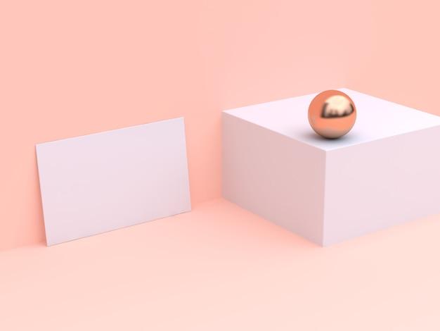 Пустая белая бумажная карточка макет минимальный крем-сцена 3d-рендеринга