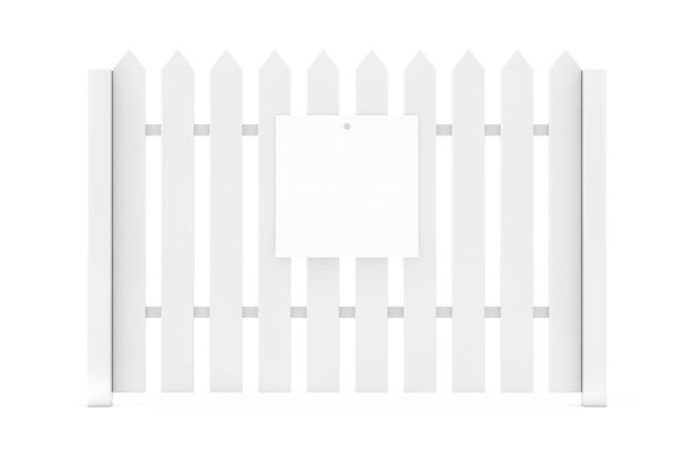 白い背景の上の白い木製の柵にぶら下がっているあなたのデザインのための空白の白い紙。 3dレンダリング
