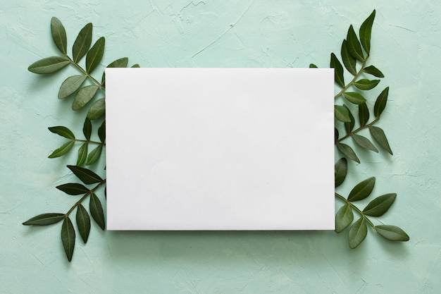 Blank white paper on green leaves over textured background