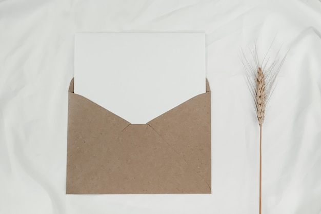 Blank white paper is placed on the open brown paper envelope with barley dry flower on white cloth. top view of craft paper envelope on white background.