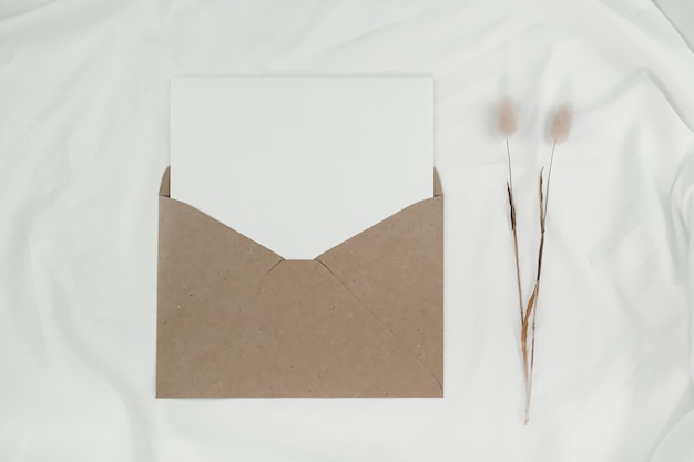 Blank white paper is placed on the open brown paper envelope with rabbit tail dry flower on white cloth. top view of craft paper envelope on white background