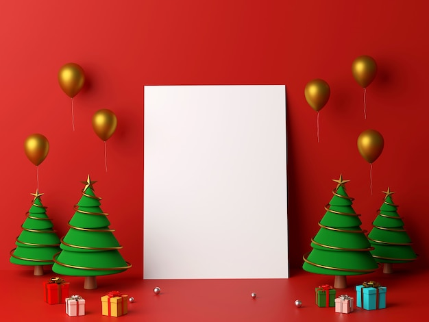 Blank white paper leaning the wall with christmas tree 3d rendering