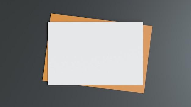Чистый белый лист на коричневом бумажном конверте. макет горизонтальной пустой поздравительной открытки. вид сверху конверта из крафт-бумаги на черном фоне. плоская планировка канцелярских принадлежностей. стиль минимализм. 3d-рендеринг.