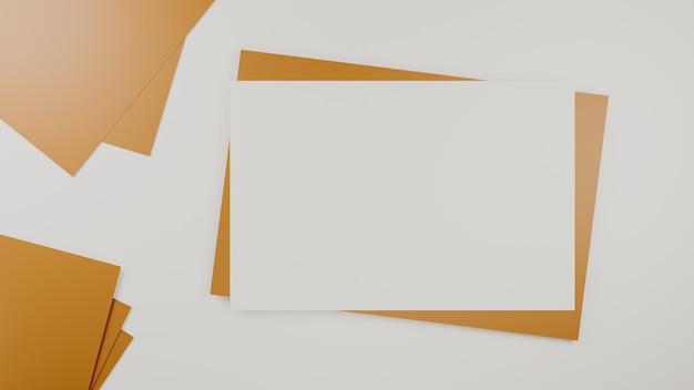 Чистый белый лист на коричневом бумажном конверте. макет горизонтальной пустой поздравительной открытки. вид сверху конверта из крафт-бумаги на белом фоне. плоская планировка канцелярских принадлежностей. стиль минимализм. 3d-рендеринг.