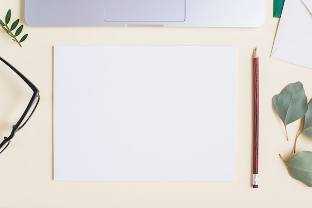Blank white paper; pencil; eyeglasses; leaves and laptop on beige backdrop