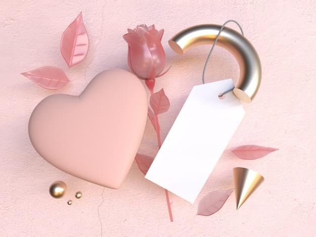 빈 백서 핑크 로즈 발렌타인 개념 3d 렌더링
