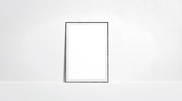 Пустой белый бумажный плакат макет стенда у стены галереи, вид спереди