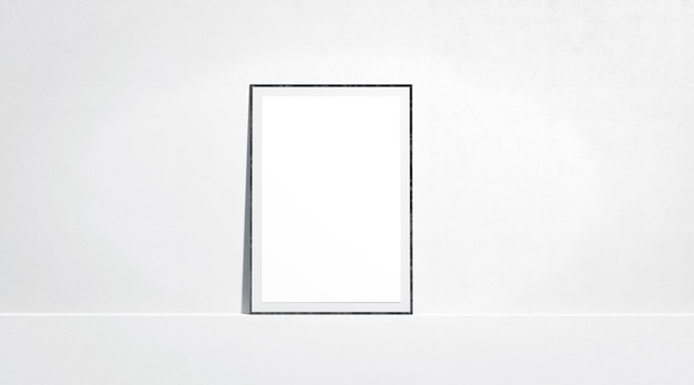 Blank white paper poster mock up stand at gallery wall, front view
