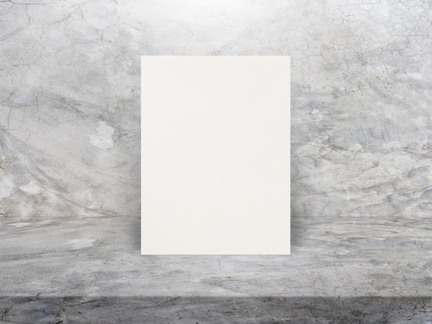 Blank white paper poster on polishing cement table top and wall, template mock up.