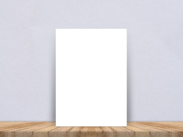 Blank white paper poster at tropical plank wooden floor and paper wall, template mock up for adding your content,leave side space for display of product