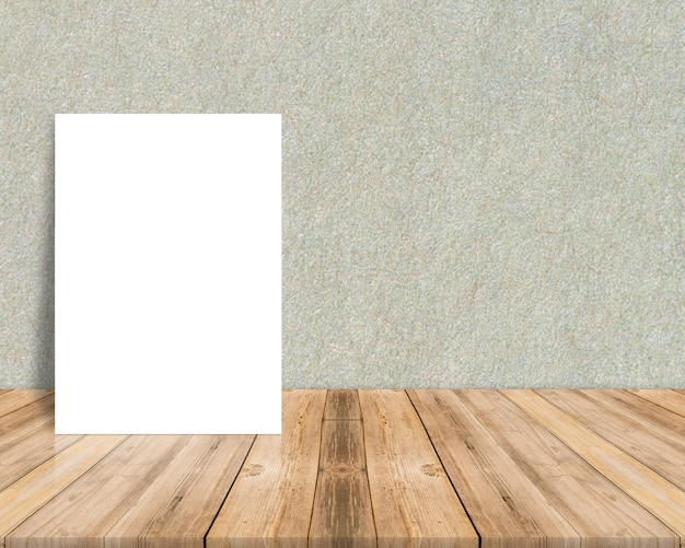 Blank white paper poster at tropical plank wooden floor and paper wall