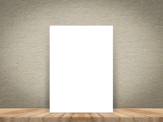 Blank white paper poster at tropical plank wooden floor and wall.