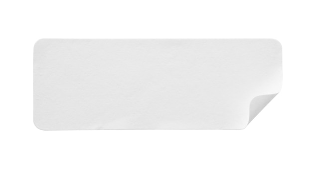 Blank white paper sticker label isolated on white background