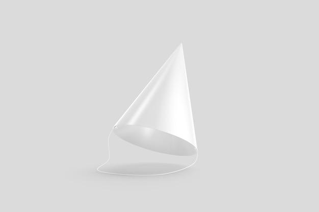 Пустая белая шляпа партии, изолированная на серой стене, 3d-рендеринг. пустой головной убор для рейв-апа. яркий веселый костюм для карнавала или фестиваля