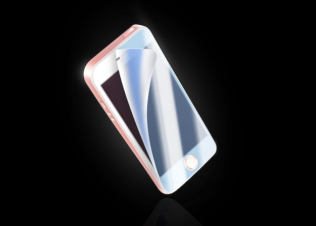 Blank white phone protection film on screen