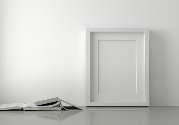 Blank white picture frame put on the floor with books. 3d render.