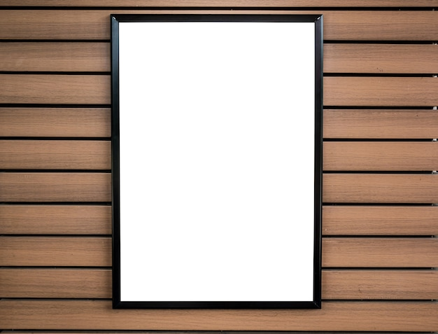 Blank white picture frame on wood wall