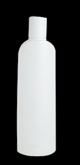 Blank white plastic bottle isolated on black background. packaging for cosmetic, shampoo.