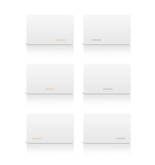 Blank white plastic card isolated
