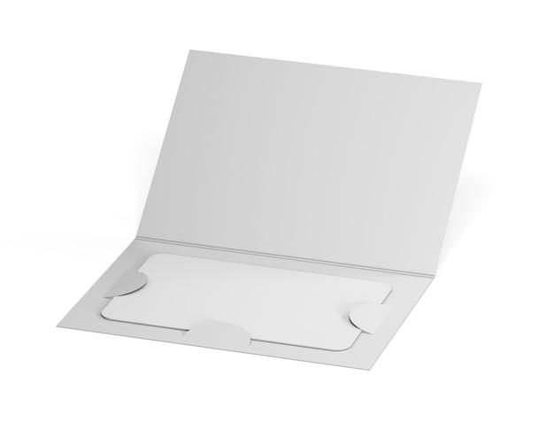 紙の小冊子ホルダー内の空白の白いプラスチックカードのモックアップ