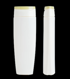 Blank white plastic isolated bottle. packaging for shampoo, cosmetic. front and side view.