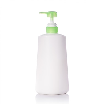 Blank white plastic pump bottle used for shampoo or soap.