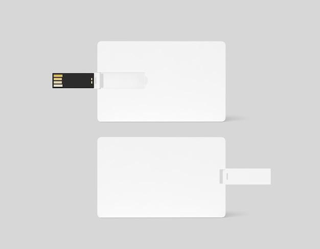 Пустой белый пластиковый вафельный макет дизайна карты usb, вид спереди, сзади