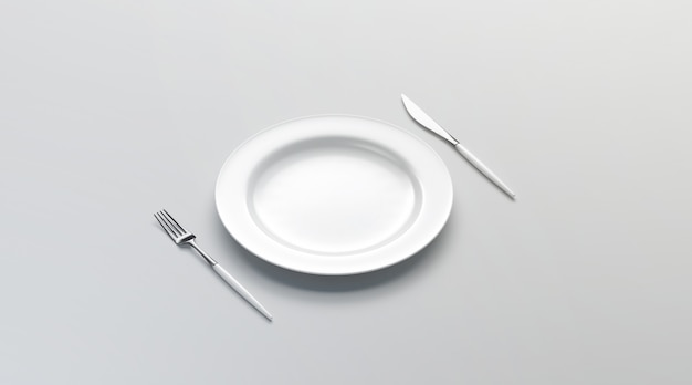 Blank white plate  with fork and knife, side view