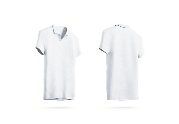Blank white polo shirt isolated, front back side view