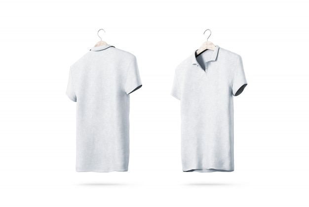 Blank white polo shirt with hanger