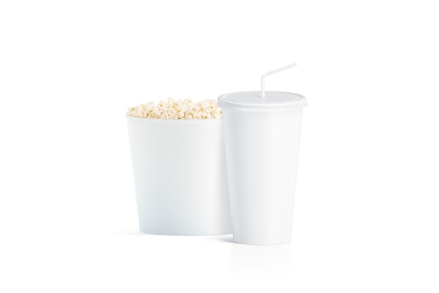 Blank white popcorn bucket with cup with straw isolated