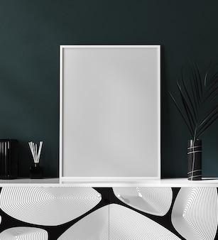 Пустой белый плакат и фоторамка в роскошном современном интерьере с темно-зеленой стеной, минималистичный, 3d-рендеринг