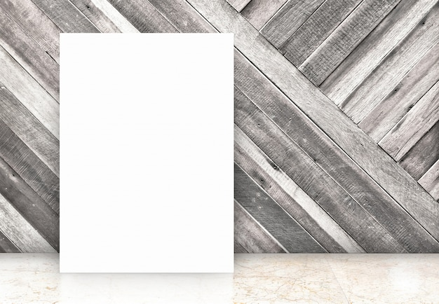 Blank white poster at diagonal wooden wall and marble floor room,template mock up for your content