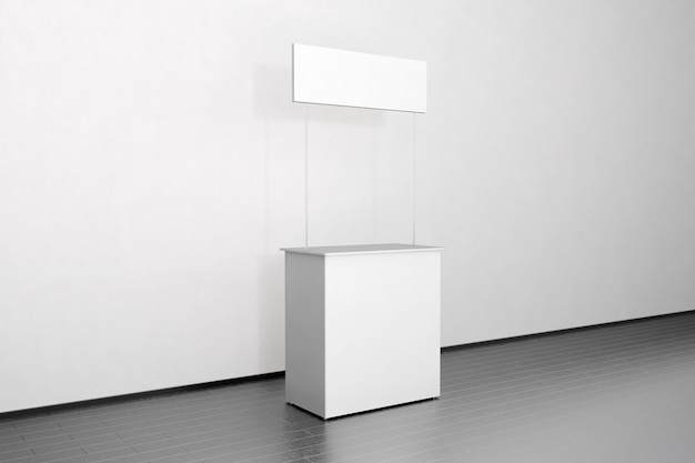 Blank white promo counter stand near the wall, side