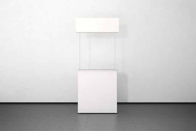 Blank white promo counter  stand near the wall