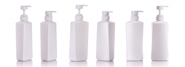 Blank white pump plastic bottle used for shampoo or soap.