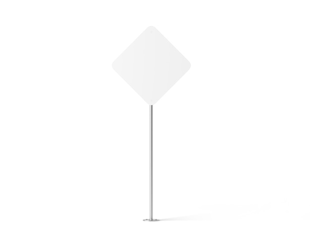 Blank white rhombus shape street sign