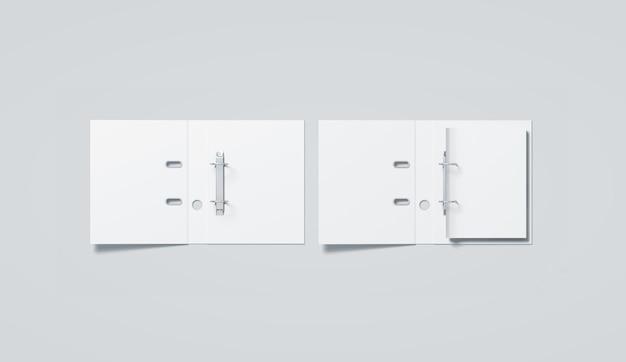 Blank white ring binder folder top view