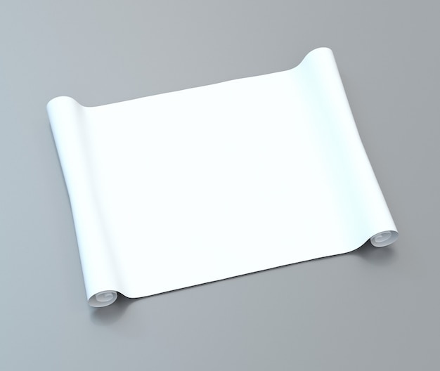 Blank white roll of paper on a gray surface. 3d illustration