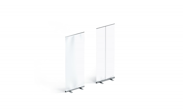 Blank white roll-up banners