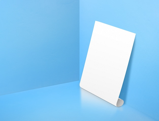 Blank white rolling poster at corner painted pastel blue color studio room background