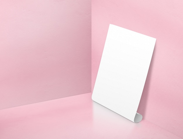 Blank white rolling poster at corner painted pastel pink color studio room background