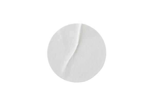 クリッピングパスと白い背景で隔離の空白の白い丸紙ステッカーラベル