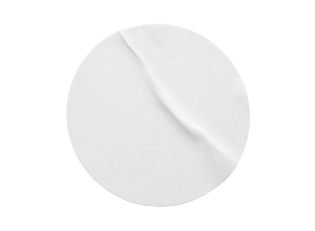 Blank white round paper sticker label isolated on white background