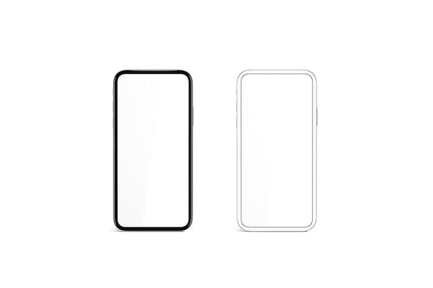 Пустой белый экран в черно-серебряной рамке телефона