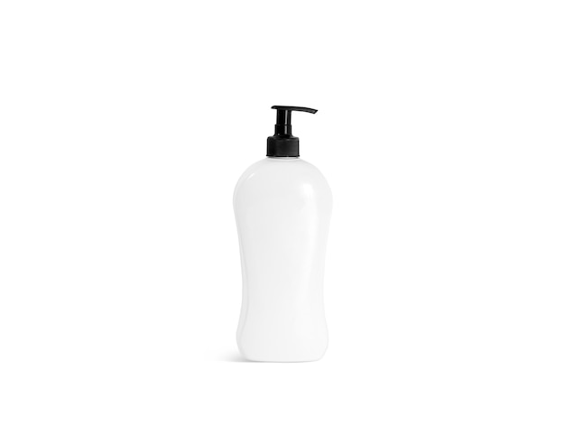 Пустая белая бутылка шампуня с макетом черного насоса, вид спереди